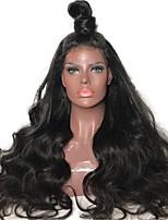 Недорогие -Не подвергавшиеся окрашиванию Лента спереди Парик Бразильские волосы Естественные кудри Черный Парик Стрижка каскад 180% Плотность волос с детскими волосами Природные волосы 100 / Необработанные