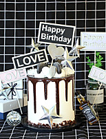 Недорогие -Украшения для торта Классика / Праздник / День рождения Художественные / Ретро / Уникальный дизайн Чистая бумага Для вечеринок / День рождения с Планка 4 pcs Пенополиуретан