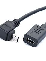 Недорогие -YONGWEI Micro USB 2.0 Кабель-переходник, Micro USB 2.0 к USB 2.0 Тип C Кабель-переходник Male - Female Лужёная медь 0.3м (1ft)