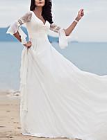 baratos -Mulheres Bainha / Chifon Vestido - Renda, Sólido Longo