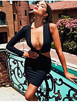 Недорогие -Жен. Для вечеринок На выход Тонкие Облегающий силуэт Платье Глубокий V-образный вырез Выше колена / Сексуальные платья