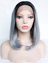Недорогие -Парики из искусственных волос Естественный прямой Серый Стрижка боб / Боковая часть Серый Искусственные волосы 14inch Жен. Новое поступление / Темные корни / Для темнокожих женщин Серый / Омбре Парик