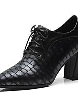 Недорогие -Жен. Наппа Leather Осень Милая / Минимализм Обувь на каблуках На толстом каблуке Заостренный носок Ботинки Черный