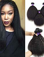 Недорогие -6 Связок Бразильские волосы Естественные прямые Не подвергавшиеся окрашиванию человеческие волосы Remy Головные уборы Человека ткет Волосы Сувениры для чаепития 8-28 дюймовый Естественный цвет