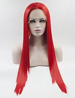 Недорогие -Синтетические кружевные передние парики Прямой Красный Свободная часть Красный 180% Человека Плотность волос Искусственные волосы 18-26 дюймовый Жен. Регулируется / Кружева / Жаропрочная Красный Парик