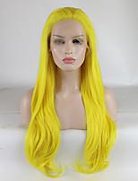 Недорогие -Синтетические кружевные передние парики Кудрявый Золотистый Свободная часть Желтый 180% Человека Плотность волос Искусственные волосы 18-26 дюймовый Жен. Регулируется / Кружева / Жаропрочная