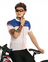 Недорогие -FirtySnow Муж. С короткими рукавами Велокофты - Синий / белый Однотонный Велоспорт Джерси Дышащий Быстровысыхающий Виды спорта Полиэстер Горные велосипеды Шоссейные велосипеды Одежда / Эластичная