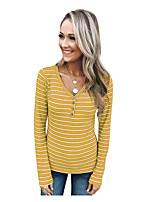 Недорогие -женская футболка азиатского размера - цветной блок / геометрический v-образный вырез