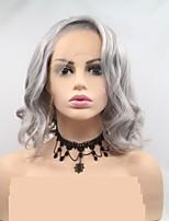 Недорогие -Синтетические кружевные передние парики Глубокий курчавый Темно-серый Стрижка каскад Серый 130% Человека Плотность волос Искусственные волосы 12 дюймовый Жен. Женский Темно-серый Парик Короткие