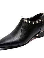 Недорогие -Жен. Полиуретан Весна Ботинки На толстом каблуке Заостренный носок Черный / Темно-русый