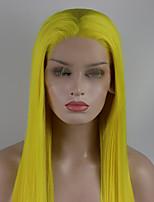 Недорогие -Синтетические кружевные передние парики Прямой Золотистый Свободная часть Желтый 180% Человека Плотность волос Искусственные волосы 18-26 дюймовый Жен. Регулируется / Кружева / Жаропрочная Золотистый