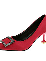 abordables -Femme Polyuréthane Printemps Minimalisme Chaussures à Talons Kitten Heel Bout pointu Noir / Rouge