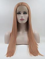 Недорогие -Синтетические кружевные передние парики Прямой Розовый Свободная часть Розовый 180% Человека Плотность волос Искусственные волосы 18-26 дюймовый Жен. Регулируется / Кружева / Жаропрочная Розовый Парик