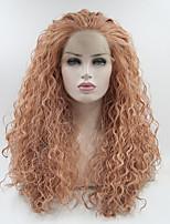 Недорогие -Синтетические кружевные передние парики Кудрявый Розовый Свободная часть Розовый 180% Человека Плотность волос Искусственные волосы 18-26 дюймовый Жен. Регулируется / Кружева / Жаропрочная Розовый