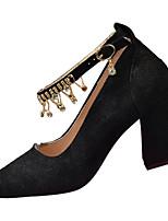 Недорогие -Жен. Полиуретан Весна Обувь на каблуках Блочная пятка Заостренный носок Черный / Бежевый / Розовый