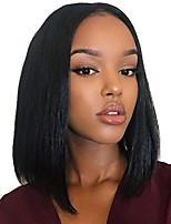 Недорогие -человеческие волосы Remy Лента спереди Парик Индийские волосы Прямой Парик 130% 150% Плотность волос Жен. Накладки из натуральных волос