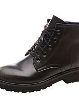 Недорогие -Жен. Кожа Наступила зима На каждый день / Милая Ботинки Блочная пятка Круглый носок Ботинки Черный / Коричневый / Вино
