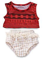 Недорогие -малыш Девочки Активный Повседневные С принтом Без рукавов Обычный Полиэстер Набор одежды Красный