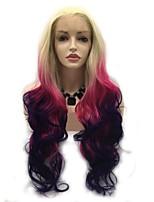 Недорогие -Синтетические кружевные передние парики Естественные кудри Розовый Стрижка каскад Розовый / Фиолетовый 130% Человека Плотность волос Искусственные волосы 24 дюймовый Жен. Женский Розовый / Фиолетовый