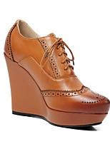 Недорогие -Жен. Наппа Leather Весна Милая / Минимализм Обувь на каблуках Туфли на танкетке Квадратный носок С кисточками Черный / Коричневый