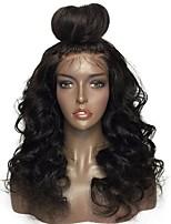 Недорогие -человеческие волосы Remy Лента спереди Парик Бразильские волосы Волнистый Черный Парик Стрижка каскад 130% Плотность волос с детскими волосами Природные волосы Для темнокожих женщин Необработанные