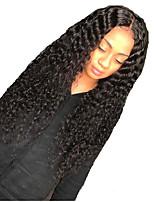 Недорогие -человеческие волосы Remy Лента спереди Парик Средняя часть стиль Бразильские волосы Глубокий курчавый Парик 130% Плотность волос Природные волосы С отбеленными узлами Жен. Длинные