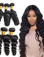Недорогие -6 Связок Бразильские волосы Свободные волны Не подвергавшиеся окрашиванию Головные уборы Человека ткет Волосы Сувениры для чаепития 8-28 дюймовый Естественный цвет Ткет человеческих волос