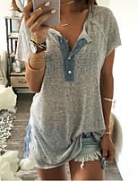Недорогие -женская футболка больших размеров - цвет блока воротник