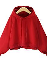 Недорогие -женская толстовка с длинным рукавом - цвет сплошной красный с капюшоном
