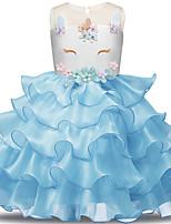 abordables -Unicorn Robes Fille Enfant Robes Halloween Halloween Carnaval Le Jour des enfants Fête / Célébration Tulle Polyester Tenue Violet Claire / Marron / Bleu Dentelle