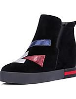Недорогие -Жен. Замша / Кожа Зима Ботинки Туфли на танкетке Ботинки Черный