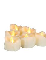 Недорогие -6шт LED Night Light / Свечной свет Желтый Батарея с батарейкой Простота транспортировки / Безопасность / Атмосферная лампа