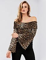 Недорогие -Жен. С принтом Футболка Классический Леопард