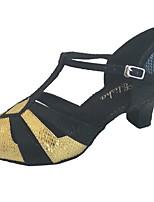 Недорогие -Жен. Обувь для латины Синтетика На каблуках Толстая каблук Персонализируемая Танцевальная обувь Бронзовый / Черный и золотой / Красный