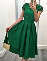 Недорогие -Жен. Классический Оболочка Платье - Однотонный, Кружева / Открытая спина Средней длины