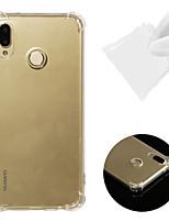 Недорогие -Кейс для Назначение Huawei Huawei P20 lite Защита от удара / Прозрачный Кейс на заднюю панель Однотонный Мягкий ТПУ