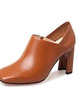 Недорогие -Жен. Наппа Leather Весна Милая / Минимализм Обувь на каблуках На толстом каблуке Круглый носок Черный / Коричневый