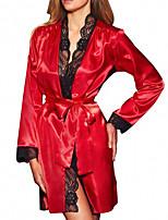 abordables -Femme Chemises & Blouses Vêtement de nuit Dentelle, Couleur Pleine