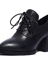 Недорогие -Жен. Наппа Leather Осень Милая / Минимализм Ботинки На толстом каблуке Заостренный носок Ботинки Черный