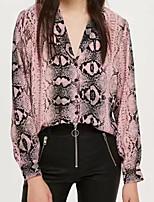 Недорогие -женская тонкая блузка - леопард с V-образным вырезом