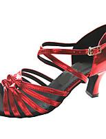 Недорогие -Жен. Обувь для латины Полиуретан На каблуках Кубинский каблук Персонализируемая Танцевальная обувь Бронзовый / Лиловый / Красный