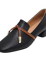 Недорогие -Жен. Полиуретан Весна На каждый день Обувь на каблуках На толстом каблуке Квадратный носок Черный / Бежевый / Контрастных цветов