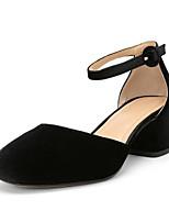 Недорогие -Жен. Замша Весна Обувь на каблуках На толстом каблуке Черный / Тёмно-синий / Вино