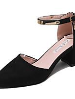 Недорогие -Жен. Полиуретан Зима Минимализм Обувь на каблуках На толстом каблуке Заостренный носок Черный / Миндальный