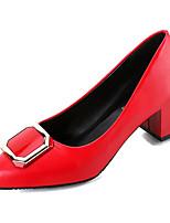 Недорогие -Жен. Полиуретан Весна На каждый день Обувь на каблуках На толстом каблуке Бант Черный / Серый / Красный