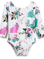 Недорогие -малыш Девочки Уличный стиль Повседневные Цветочный принт Длинный рукав Полиэстер Bodysuit Белый