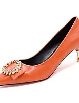 Недорогие -Жен. Полиуретан Весна Обувь на каблуках На шпильке Заостренный носок Черный / Оранжевый / Зеленый