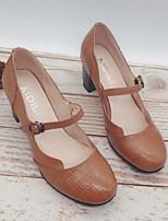 Недорогие -Жен. Наппа Leather Осень Обувь на каблуках На толстом каблуке Черный / Коричневый