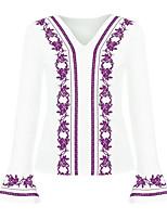 Недорогие -узкая женская блузка азиатского размера - геометрическая / однотонная шея