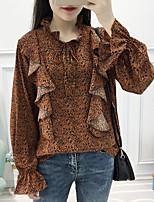 Недорогие -женская свободная рубашка азиатского размера - леопардовая шея